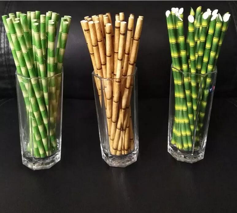 Papel palha 19.5cm Bolha descartável chá espessa suco de bambu beber eco-friendly leite palhas aniversário de festa de casamento