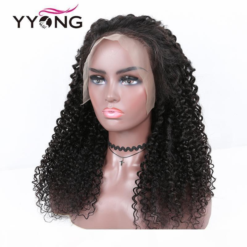 Yyong 13x6 T Part Brazilian Kinky Curly Transparent hd Lace Frontal Human Hair Wigs Remy Human Hair Lace Front Wig 120% 30inch