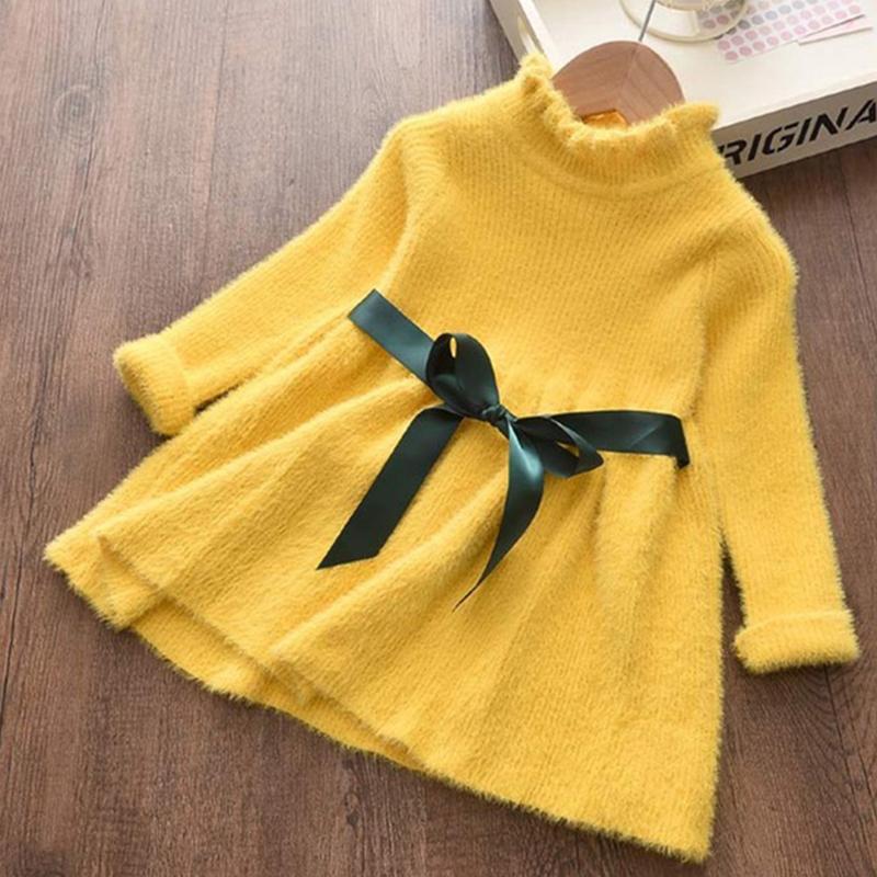 Kızlar Kazak Elbise 2021 Sonbahar Kış Prenses Elbise Çocuk Kıyafetleri Kemer Çocuk Giyim Ile 2 6 Yıl