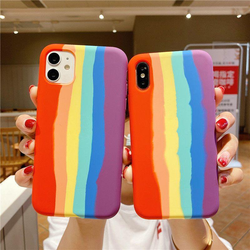 Силиконовый чехол Жидкий Сплошной дождевой коробку Цвет резиновый противоударный чехол для iPhone 6 7 8 Plus X XR XS MAX 11 12 PRO MAX COVER