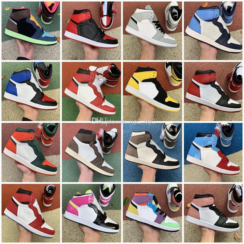 Jumpman 1 Açık Ayakkabı OG Yüksek Ayakkabı UNC Erkek Soya Ev Kraliyet Mavi Erkekler Spor Sneakers Eğitmenler 36-46