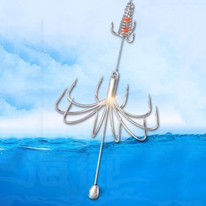1 pc explosão gancho de pesca lure isca alimentador de alimentador afiado com ganchos de aço inoxidável