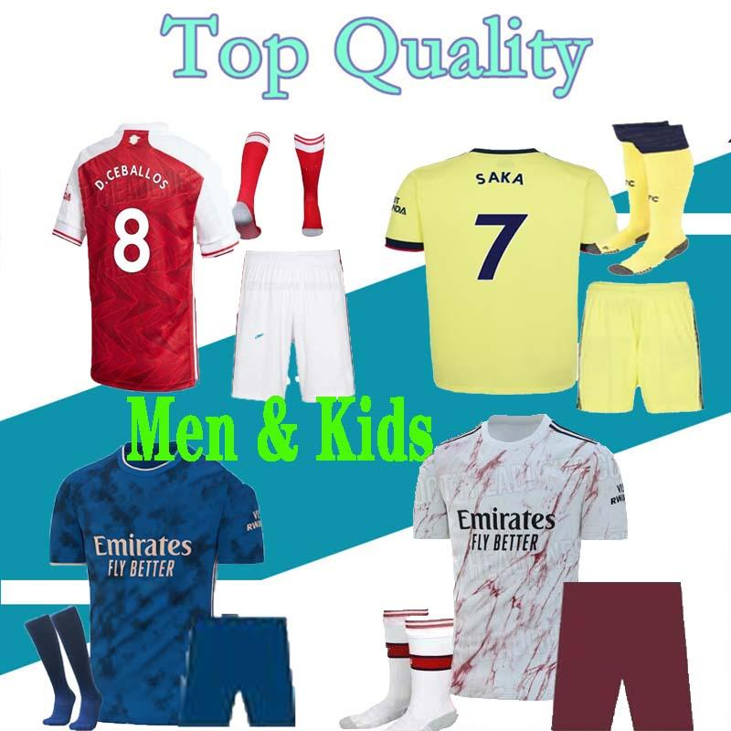 Tierney Мужчины и дети 21 22 Футбол Джерси Ceballos Henry Футбольная футболка 2122 David Luiz Maillot De Feps Набор для взрослых с носками