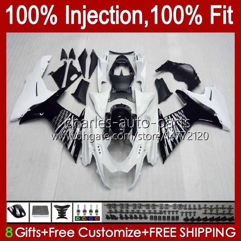 Injektion för Suzuki GSXR-750 GSXR600 Vit Glossy GSXR 600 750 CC 10HC.2 GSXR750 11 12 13 14 2015 2016 2017 K11 GSXR-600 600CC 750CC 2011 2012 2013 2014 15 16 17 FAIRING