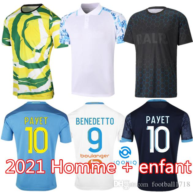 Olympique de Marseille Soccer Jersey 2021 2022 om Mailleot De Foot Payet Thauvin Benedetto Polo Jerseys 20 21 22 Milik Shirts