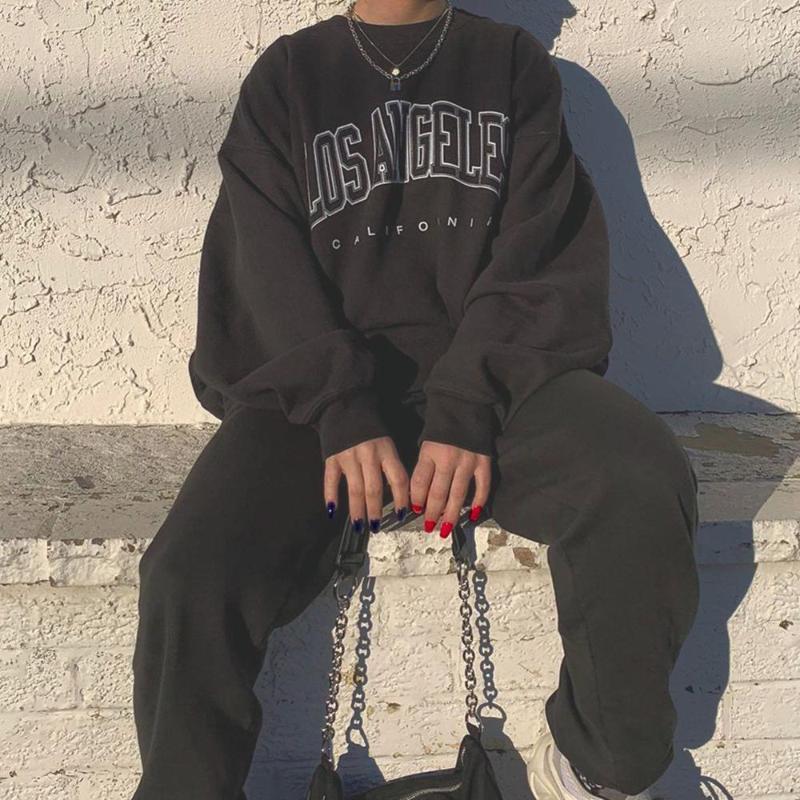 Sudaderas con capucha para mujer Carta Letra Los Angeles Sudadera Hip Hop Jerseys O-cuello Trendy de moda regular Unisex