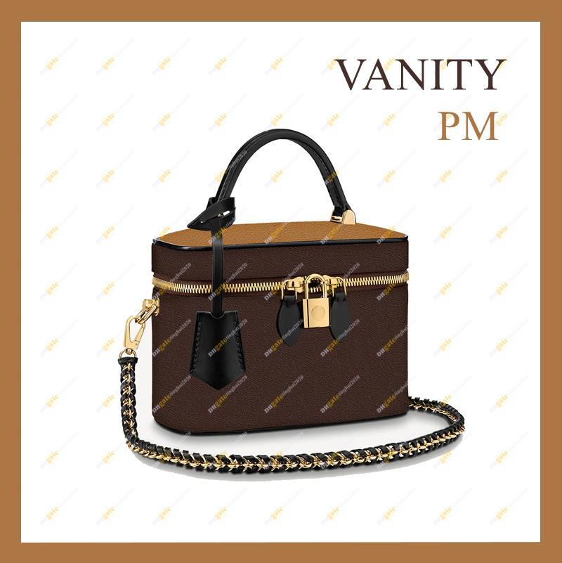 2021 숙녀 패션 디자이너 고품질 상위 5A 허영심 PM 화장품 가방 M45165 대비 컬러 잠금 어깨 가방 메신저 가방 재고 있음