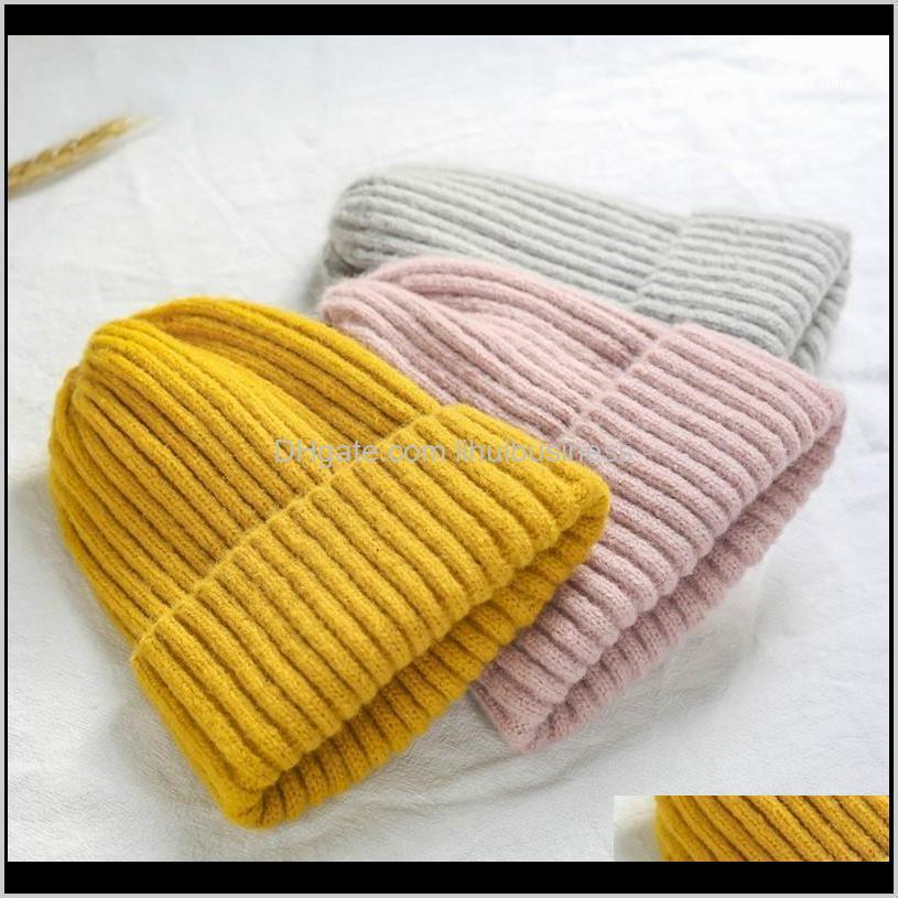 Beanie / Kafatası Şapkalar Şapkalar, Atkılar Eldivenler Aessories Kış Katı Renk Yün Örgü Bere Kadın Moda Rahat Şapka Sıcak Kadın Yumuşak Kalınlaşmak