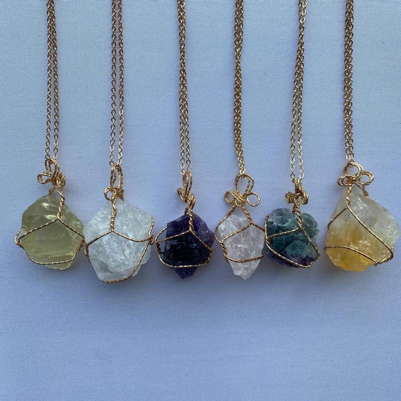 Natürliche Kristall Quarz Heilungspunkt Chakra Perle Edelstein Halsketten Frauen Männer Anhänger Original Stein Stil Schmuck