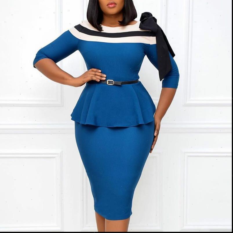 Damen Kleid Frauen Elegant Kleider Slim Half Ärmeln Peplum Patchwork Office Damen Arbeit Tragen Wege Vestidos Afrikanische Weibchen Modest Paket Hüfte