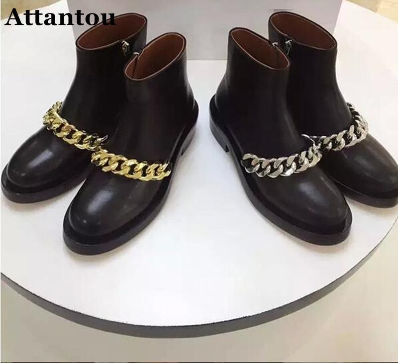 Botas attantou fashion mulheres negras de couro real senhora correntes outono inverno feminino altura alta altura crescente