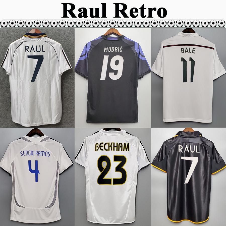 1997 2007 Real Madrid Raul Seedorf Zidane Beckham Mens rétro Soccer Jerseys R.Carlos Alonso Kaka 'Sergio Ramos Home Shirts de football
