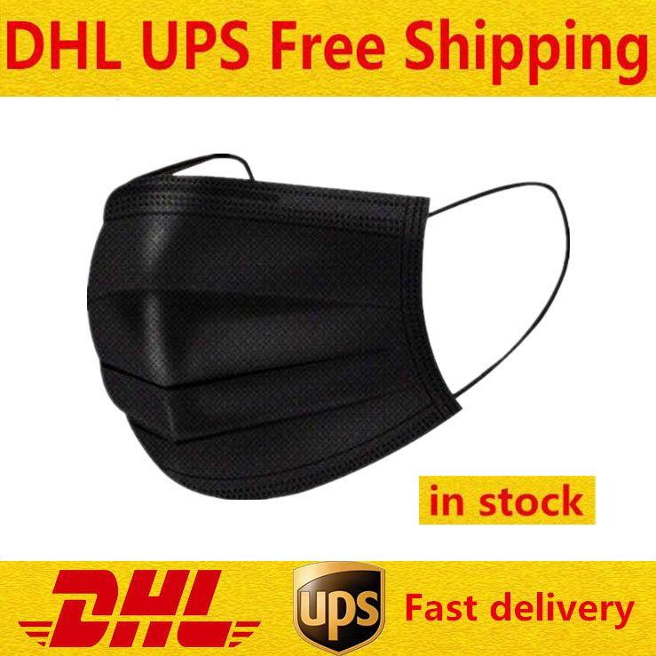 Черная одноразовая маска для лица с эластичными ушными петлями Маски 3 PLY Дышащие и удобные для блокировки пылезащитного воздуха Защита загрязнения пакет в наличии