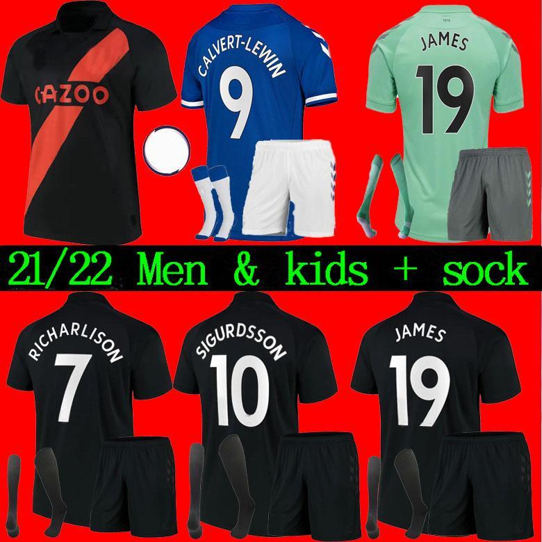 الرجال + Kids Kit 20 21 22 Calvert-Lewin Soccer Jerseys James Richarlison 2122 Digne Sigurdsson Doucoure Bernard كرة القدم قميص