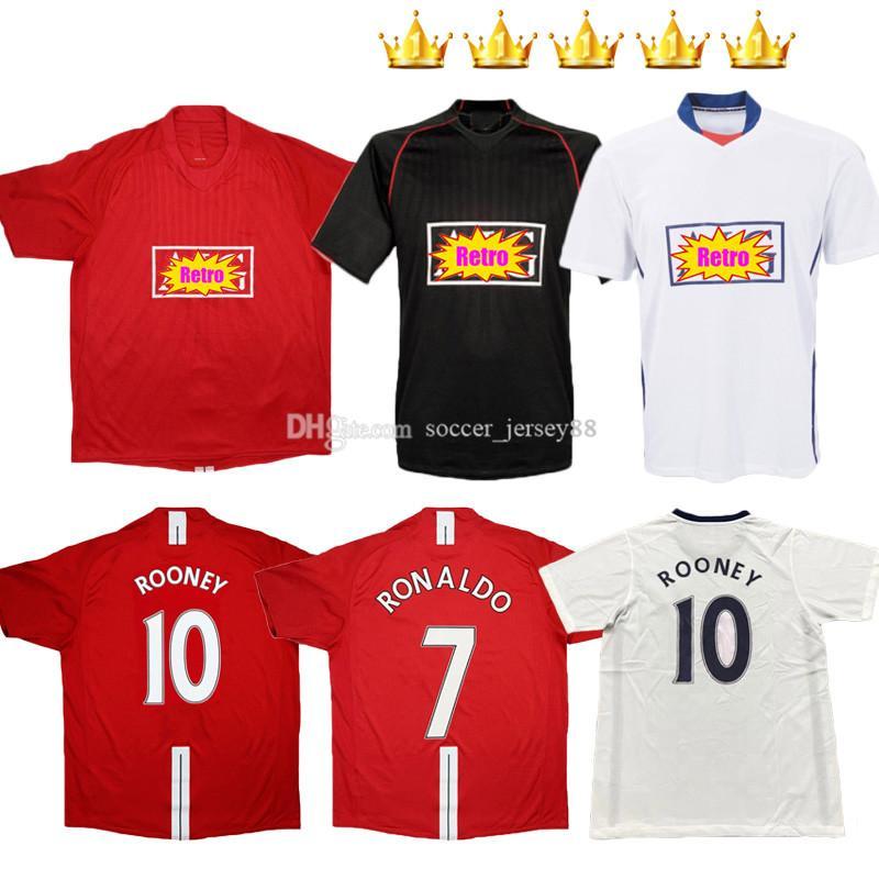Manchester Retro Version Soccer Jerseys 2007-08 2008-09 Classic Vintage Football United Giggs Scholes Beckham ReooneyRonaldo 07 08 09 UTD 2008 KITS 2008 2009