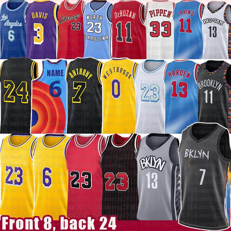 Brooklyn Nets Chicago Bulls Kyrie Kevin Irving Harden Durant Basketball Jersey Jordan 23 Michael Los LeBron 6 James Angeles Kobe 24 Bryant Lakers Scottie Pippen Rodman Davis