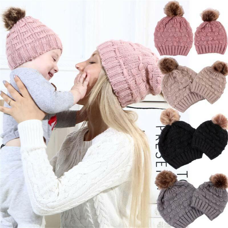 Family Matching Outfits 2pcs Mom Kid Beanie Hat Cap Knitted Born Baby Knit Soild Cotton Blend