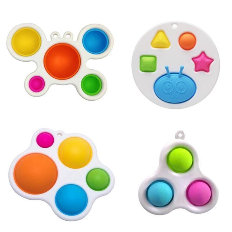 Fidget Oyuncak Çocuklar Favor Basit Dimple Üçgen Küçük Anahtarlık Kolye İtme Kabarcıkları Yetişkin Hediye
