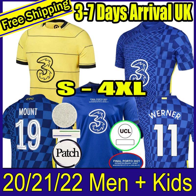 태국 20 21 22 Abraham Werner Havertz Chilwell Ziyech 축구 유니폼 2021 2022 Pulisic Football Shirt Kante Mount Men Kids 세트 키트 탑스