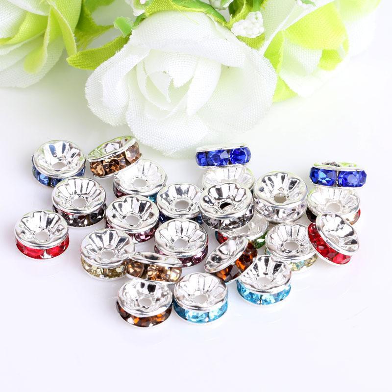 Glass Solta Bead para Pulseiras Europeias Conclusões Misturadas Multicolor Strass Cristal Big Hole Zircon Beads Spacer 8mm 10mm Jóias Acessório