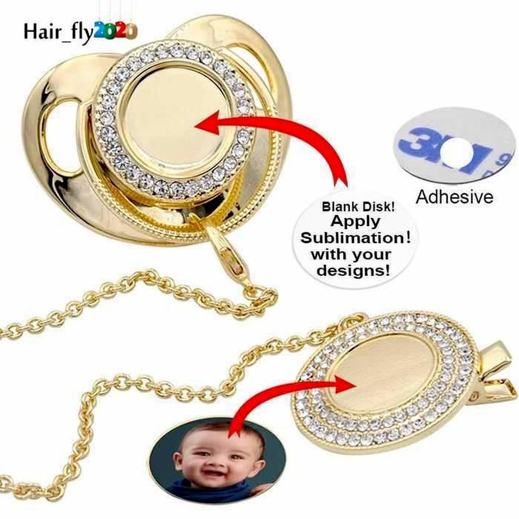 Özelleştirmek süblimasyon boşlukları Bling emzik klip kolye ile kristaller parti favor bebek keepsake brithday hediyeler 496