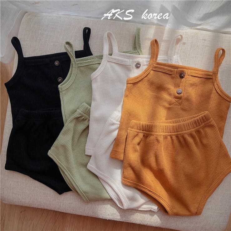 baby Girl Kids Summer Clothing Sets Solid Color Suspender Shirt + Short Child Clothes set