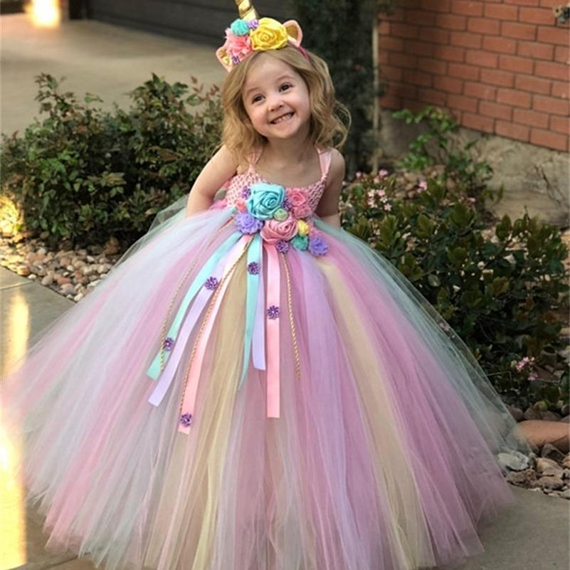 Meninas pastel unicórnio flor tutu vestido miúdos crochet tulle tulle vestido vestido de baile com fitas da margarida crianças vestido de traje de festa 210319