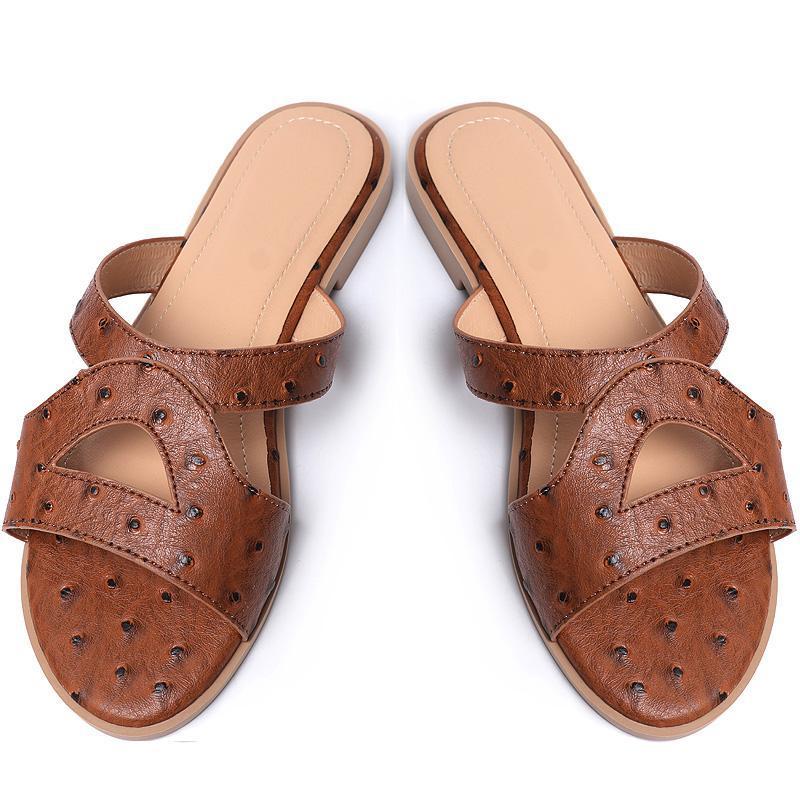 Summer Donne con tacco piatto scarpe da pantofole esterne indossando morbida pelle di struzzo donna scivoli a punta aperta scivolone
