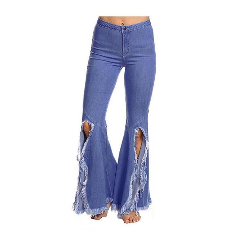 Tassels Alto Cinturón Denim Flare Jeans Womens Vintage Patchwork Pierna ancha Pierna Flyny Plancha Pantalones de Bolla