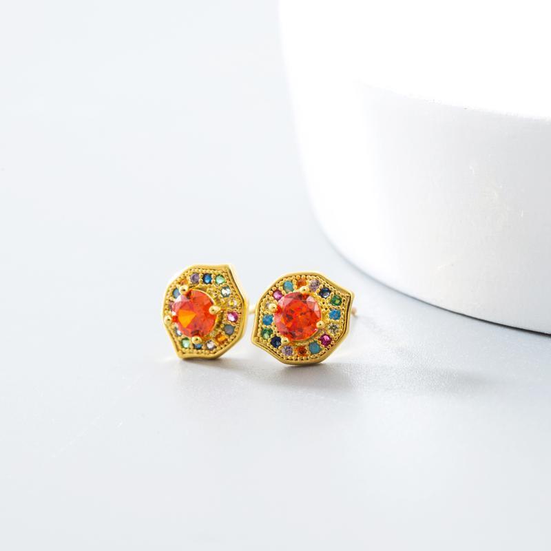 Clip-On-Schraube Rücken 2021 Design Klassische Kupferbolzen Ohrringe Gold Farbe CZ Rainbow Cubia Zirkonia Chinesischer Stil Piercing