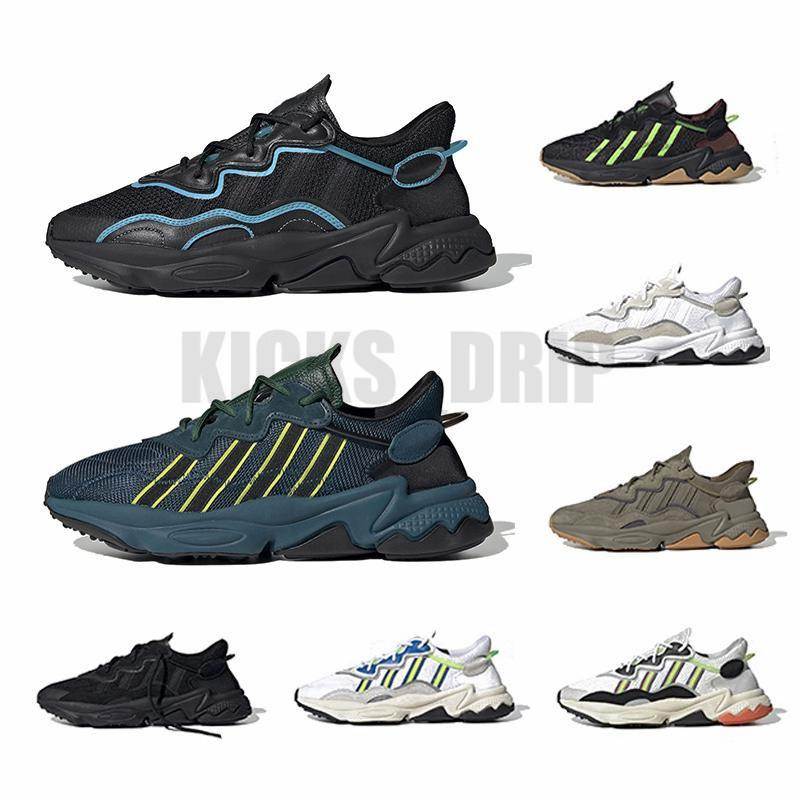 Confronta il re simile del re Ozweego uomini donne scarpe da corsa scarpe nastrate cuciture era pacchetto riflettente xeno nero brillante cyan pusha t formatori scarpe da ginnastica sportiva con calzini Tags