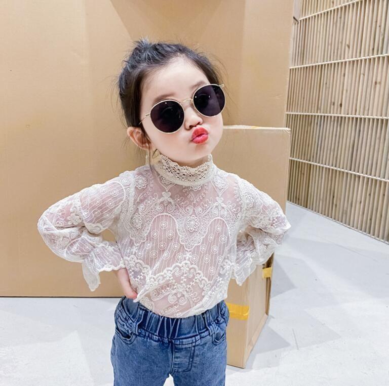 2021 Baby Girls Fall Fairy Lace Camiseta, Princess Kids Linda Manga Larga Blusa 6 Piezas / Lote, Wholesale