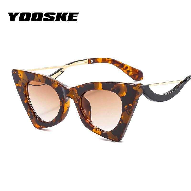 Lunettes de soleil Yooske Cat Eye Eye Femmes Moderne Jaune Sun Verres Hommes Vintage Temple incurvé Design Shades uniques