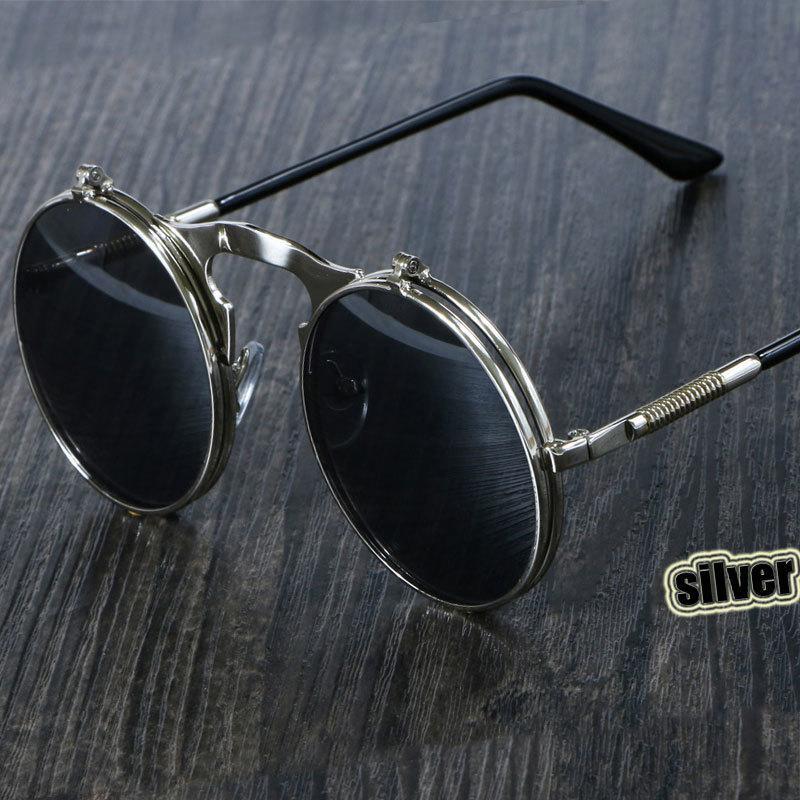 선글라스 3057 Steampunk 선글라스 라운드 금속 여성 스타일 레트로 플립 원형 더블 안경 남성 서클