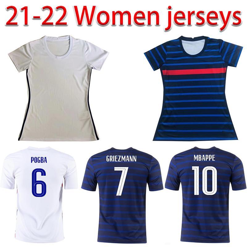 Maillots de football 2021 فرنسا البنزيما 20 21 كرة القدم جيرسي تايلاند mbappe grizmann pogba mailleot القدم fekir pavard كيت الأعلى امرأة قميص hommes enfants