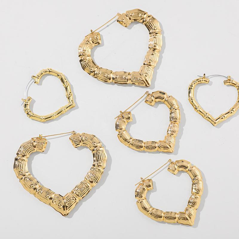 Punk Hip Hop dicker großes Herz-Reifen Ohrringe für Frauen Trendy Gold Metal Liebe Bambus übertrieben Schmuck Huggie