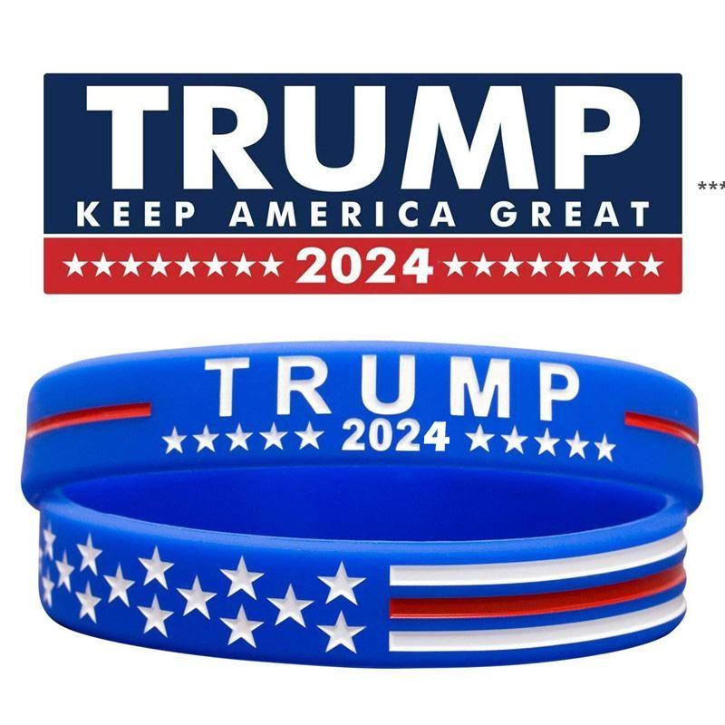 ترامب 2024 سيليكون سوار أسود أزرق أحمر معصمه حزب صالح 4 ألوان HHB8958
