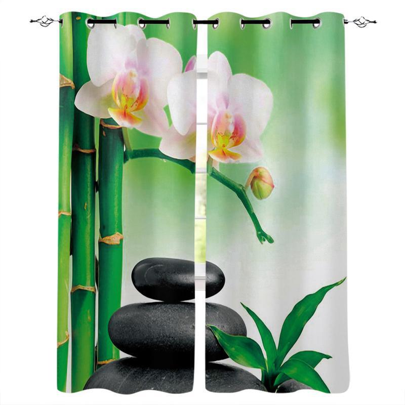 Vorhangvorhänge Zen Steine Orchideen Blume Grün Bambus Blackout Vorhänge Schlafzimmer Wohnzimmer Dekoration Für Kinder Mädchen Jungen Geschenk