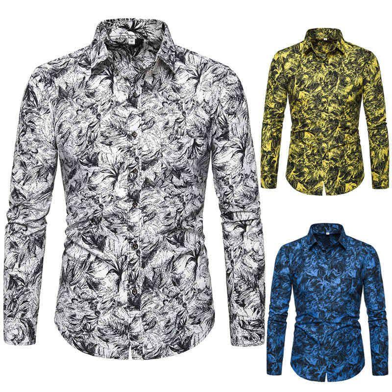 Frühling und Herbstblatt gedruckt Langarmkoreanische europäische Größe Revers Hemd Herrenbekleidung