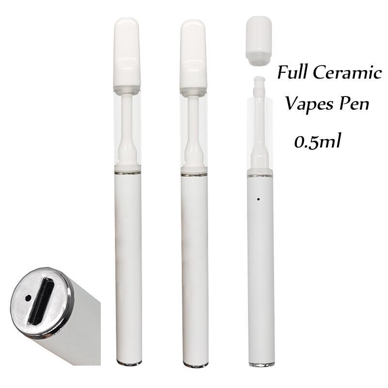 Одноразовые ручки Vape Vapes Cartridges E-Cigarettes Ручки полные керамические тележки 510 Тележка 0.5 мл 290 мАч Батарея Батарея без утечки Аккумуляторный испаритель Толстый распылитель масла