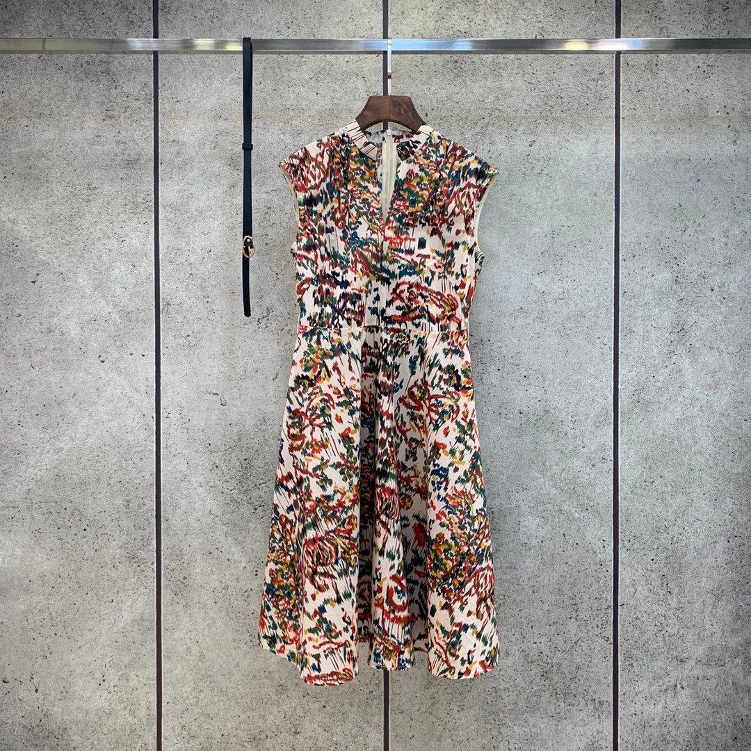 Milan pist elbiseler 2021 yaz baskı panelli kadın tasarımcı elbise markası ile aynı stil etekler 0319-20