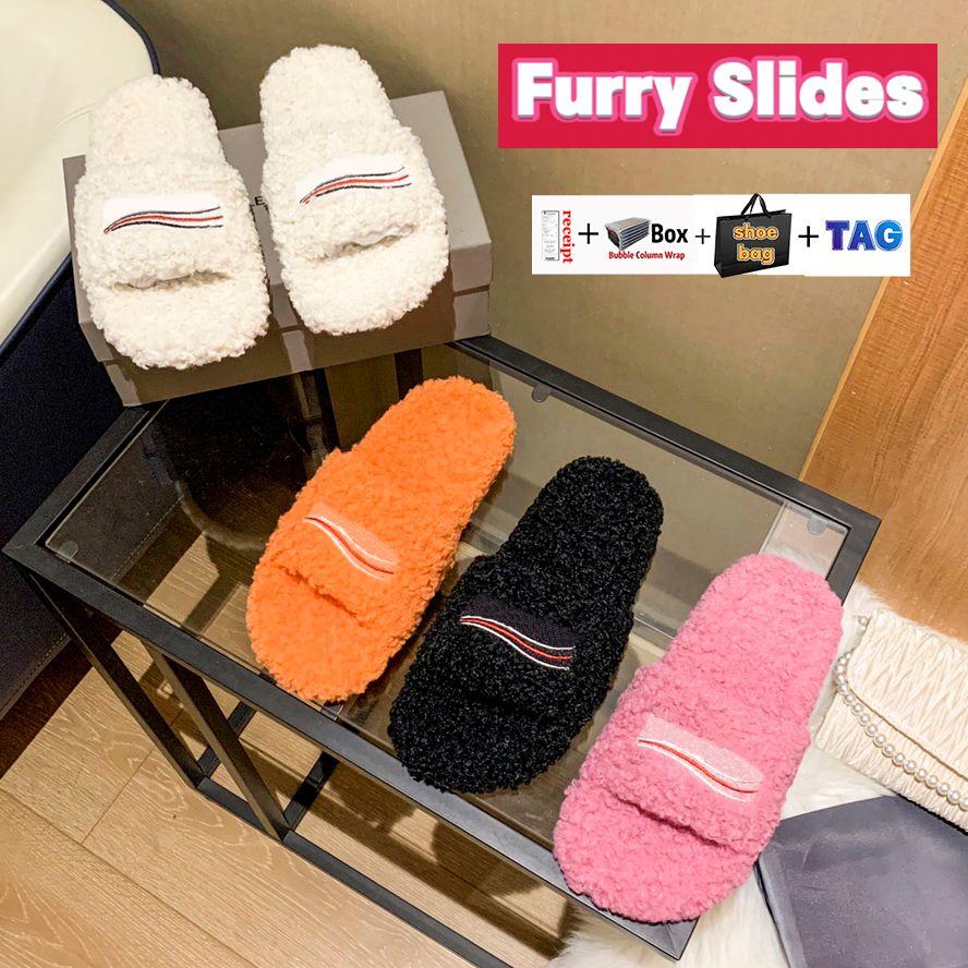2022 럭셔리 여성 신발 모피 슬라이드 따뜻한 파리 슬리퍼 정치 캠페인 트리플 블랙 레드 라이트 핑크 오렌지 패션 부드러운 양모 겨울 모피 편지 디자이너 샌들