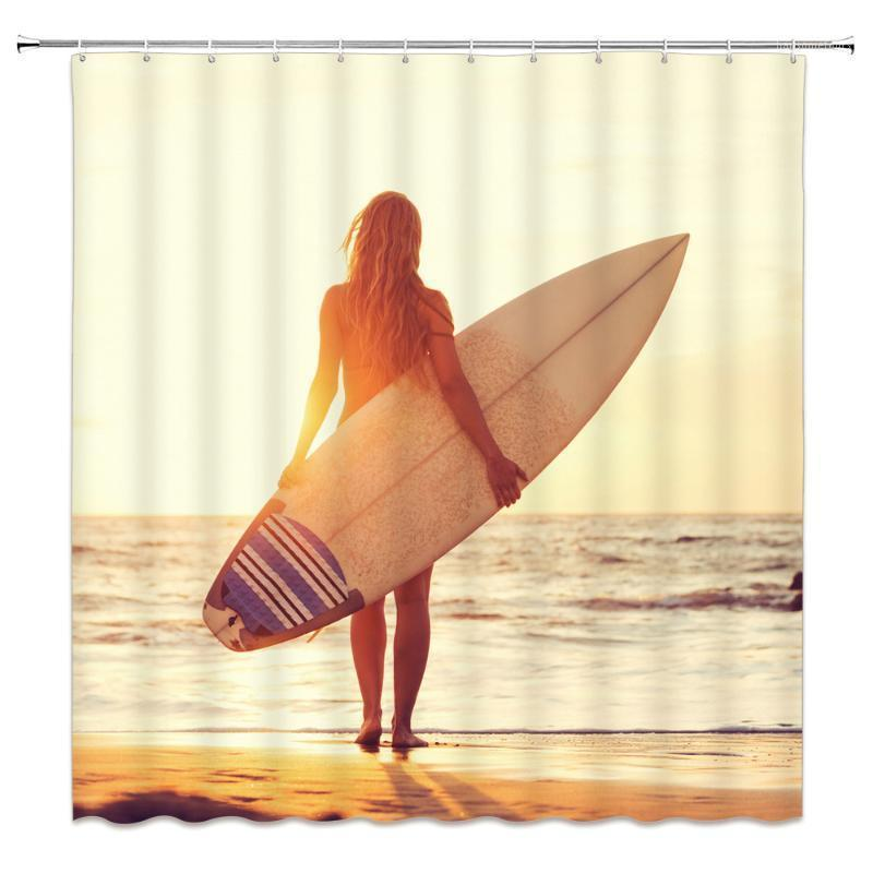 바다 소녀 서핑 샤워 커튼 해변 풍경 불가사리 쉘 욕실 장식 홈 욕조 방수 폴리 에스터 커튼 세트 1