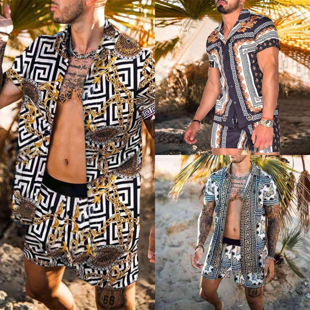 Hawaiianischer Mens-Druck-Set Kurzarm-Hemd Sommer Casual Floral-Hemd Strand Zwei Stück Anzug 2021 Neue Mode Männer Sets S-3XL x0601