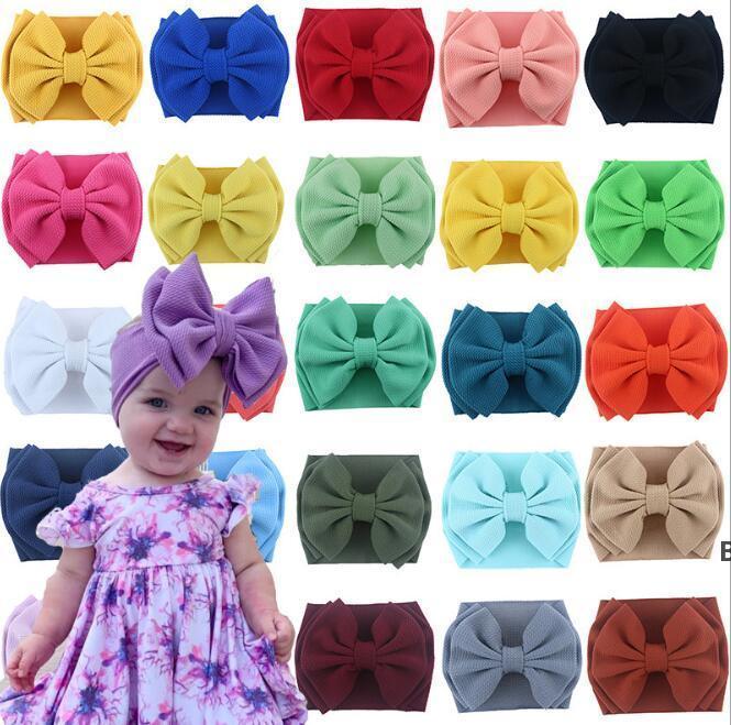 Детская повязка на голову Двойное лук для волос Большой бантик Turban Girls Niblet Эластичные повязки Детские головы для волос Аксессуары для волос 25 цветов DHB7377