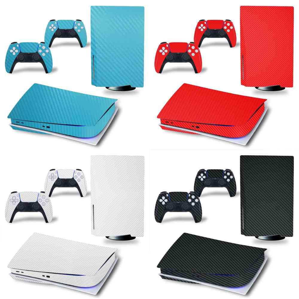 Carbon fiber stickers for Playstation 5, skin stickers for ps5 console, disk editing, 2 drivers J0609