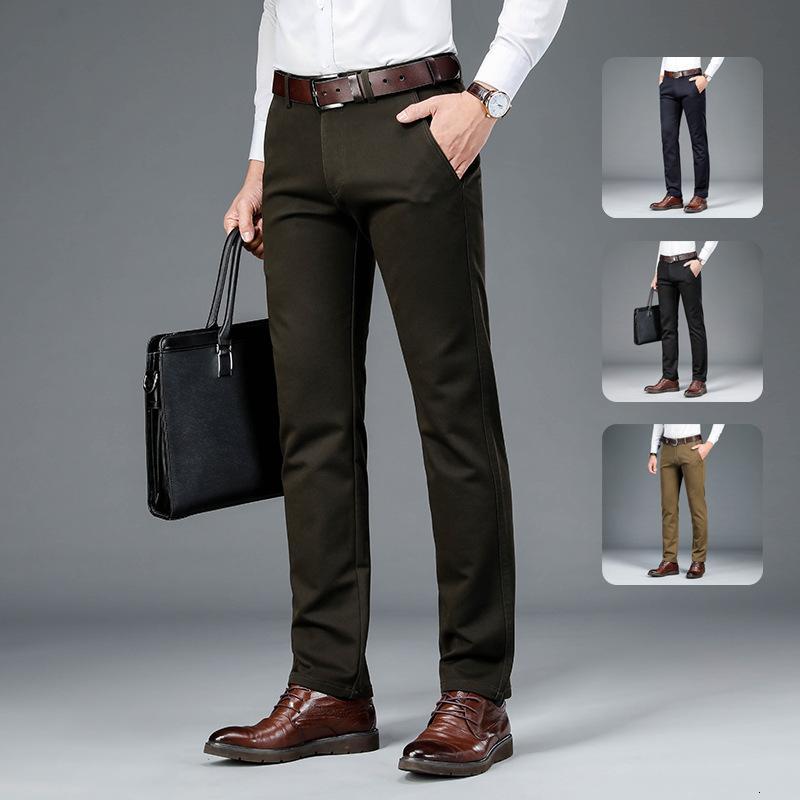 Autunno e inverno dritto tubo dritto allentato vita alta vita elastico adatto a mezza età pantaloni casual da uomo