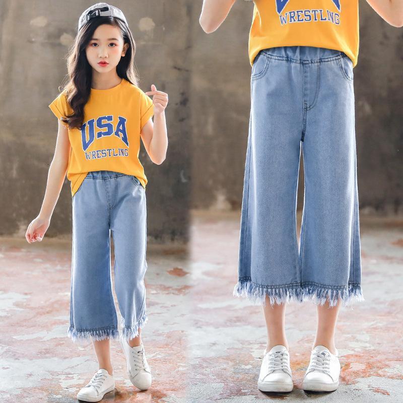 Girls 'Cropped Jeans Sommer 2021 Neue koreanische Quaste Wide Bein Hosen Kinder Zwei Stück Anzug