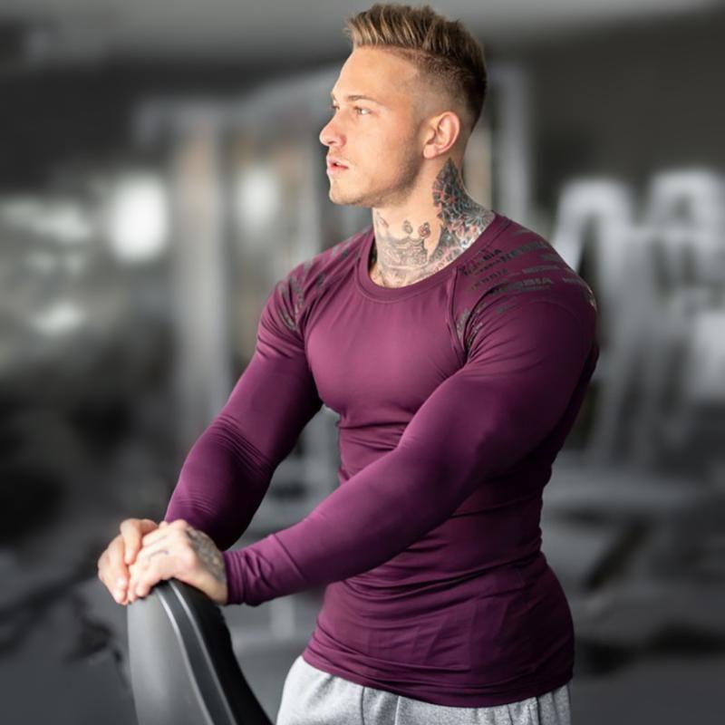 Uomo Skinny Maniche lunghe T Shirt Gym Gym Fitness Bodybuilding Elasticità Compressione Quick Dry Shirts Allenamento maschio Tees Top Abbigliamento