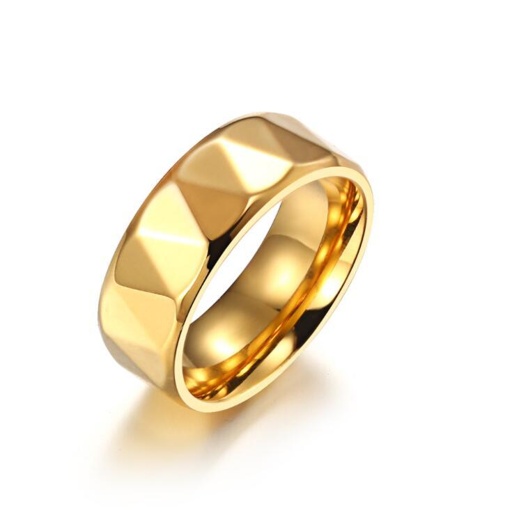Herrenimitation Tungstenl Gesicht 8mm Gold Ring Koreanische Version von Titan Gold-plattierter Edelstahl Europäischer und amerikanischer Zubehör einfach